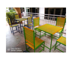 Weaved restaurant table and chairs