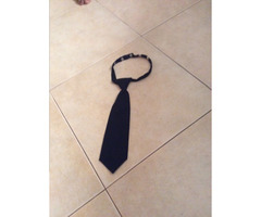 Navy blue small button tie