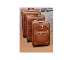 Leather travel suitcases