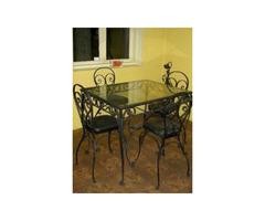 Metallic dining table
