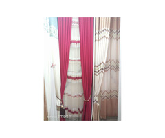 Curtains and curtain rods, office blinds